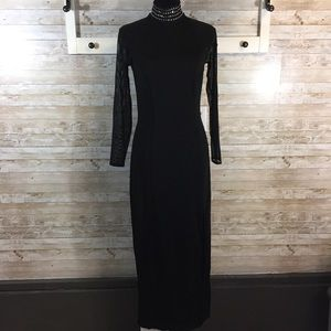 Tadashi Shoji Vintage black bodycon maxi dress med